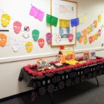 Dia de los Muertos alter in the hallway outside of the Modern Languages and Literatures Department on October 30, 2020